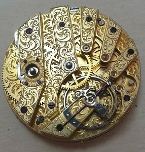 Very Old J F Boutte Key Winding Pocket Watch Movement and Dial