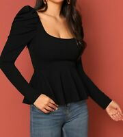 Square Neck Puff Sleeve Long Sleeve Elegant Peplum Blouse Top Casual