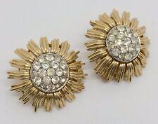 TRIFARI Gold-Tone & Colorless Rhinestone Clip-On Earrings (RF1019)