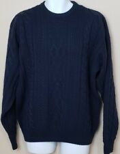 Men's Claybrooke Vintage Crew Neck Cable Knit Pullover Sweater - Navy - Size XL