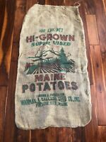 Vintage Burlap Bag Penquin Warman Ballard Seed Co Presque Isle Maine EUC