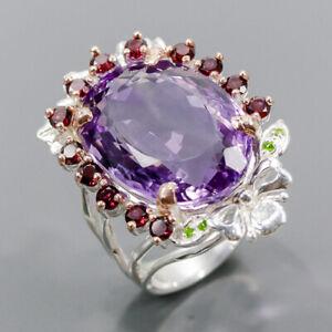 28ct+ Vintage SET Amethyst Ring Silver 925 Sterling  Size 8.5 /R172924