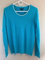 Tommy Hilfiger Women's 100% Cotton Cable Knit Long Sleeve Sweater Aqua SZ MED
