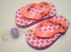 New Carter's Girl's Toddler Flip Flops Pink Hearts Size 1/2 NWT
