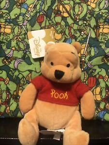 "WINNIE THE POOH BEAR RED SHIRT 8"" PLUSH BEANIE DISNEY STORE"