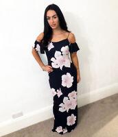 Quiz Navy Pink Cold Shoulder Maxi Evening Summer Dress Prom Bridesmaid Womens UK