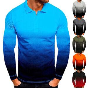 Mens Gradient  Long Sleeve Polo Shirt Button Down Badminton Golf Casual Slim Top