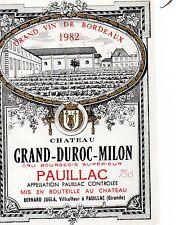 étiquette CHÂTEAU GRAND -DUROC-MILON 1982 PAUILLAC