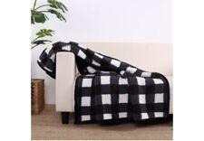 "BETTER HOMES & GARDENS SHERPA THROW Blanket Gray/ BLACK BUFFALO PLAID  50"" X 60"""