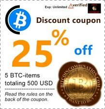 Discount coupon 25% off - 5 BTC-Items for 100 USD each
