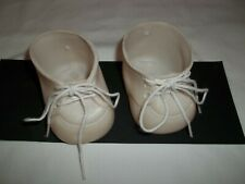 """Vintage Baby Doll Shoes For Large Doll Shoes 3"""" Long White Plastic with Laces"""