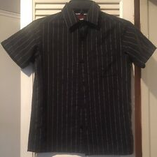 Boys Black With White Pin Strip Button Up Dress Shirt Size Small
