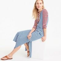 J CREW RED WHITE BLUE LONG LACE UP STRIPED NAUTICAL DRESS M