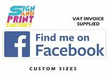 2x Find Me On Facebook Sticker - 5 Sizes Available - Van Decals Shop Window Sign