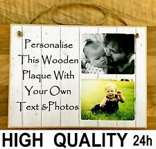 "Personalised 8x6""plaque text & photos friends Fathers day Dad family unique gift"