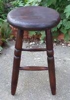 Antique Elm Wooden Work Stool  50 cms Tall