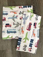 POTTERY BARN KIDS FULL FLAT SHEET AND PILLOWCASE, AIRPORT MOTIF