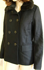 $158 NWT GAP Tweed Pea Coat Size S Removable Fur Collar Double Breasted