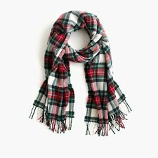 NWT J.CREW Tartan Scarf RED MULTI H3794 Made In Italy *red white green plaid
