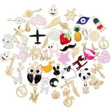 50Pcs/Set Casual Enamel Mixed Styles Charm Pendants DIY for Necklace Making