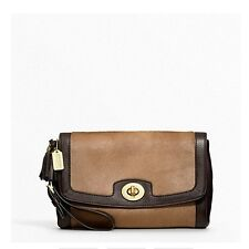 $398 NWT Coach Legacy Haircalf Large Flap Clutch Wristlet 48042 Brass / Camel