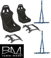 Cobra Monaco Pro Black Seats / Subframes and Harnesses for Ford Fiesta Mk7 08-17