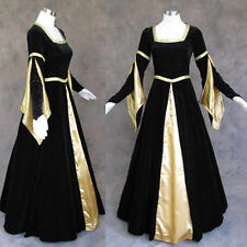 Black Velvet Gold Medieval Renaissance Gown Vampire Dress Costume Goth Wedding M