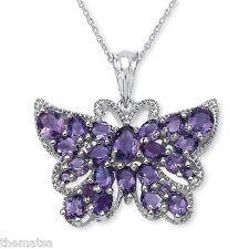 Amatista 4.53ct Mariposa Colgante de plata de Ley Collar con 45.7cm CADENA