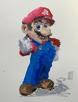 Original Abstract Super Mario Classic Suit Video Game Pop Art Acrylic Painting