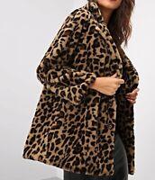 Leopard Print Notch Collar Long Sleeve Button Faux Fur Elegant Teddy Short Coat