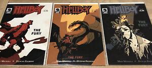 HELLBOY THE FURY # 1 - 3 Full Set Dark Horse Comics 2011 Hellboy BPRD Mignola