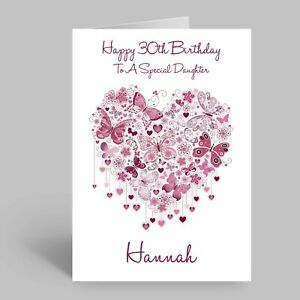 Personalised Pink Butterfly Heart Birthday Card FEMALE 18th 21st 30th 50th 65th