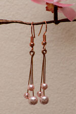 Handmade Rose Gold Drop Earrings Pink Pearls Crystals Wedding Bridesmaids Gifts