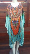 Aqua with Multicolor front & animal print back Silk Satin Beach Pool Kaftan Top