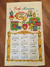 "VINTAGE 1977 CALENDAR TOWEL EARLY AMERICANA ""UNITED WE STAND"""