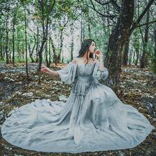 Womens Chiffon Off Shoulder Maxi Long Dress Ruffle Puff Sleeve Prom Gown Lolita