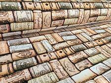 Wine Corks Digital Print Fabric Curtain Material bottle cork cotton -140cm wide