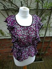 Ladies Size 8/10 H&M Floral Floaty Sheer/Chiffon Cap Sleeve T-Shirt Size 36