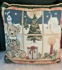 """Vintage Tapestry  Christmas Throw Pillow  Angel Bear at the window 16"""" x 16"""""""