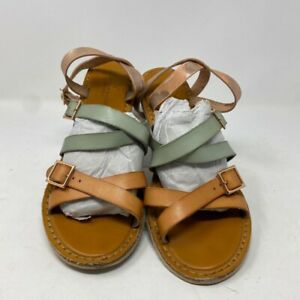 American Eagle Outfitters Womens Cris Cross Strappy Sandals Orange Buckle 9