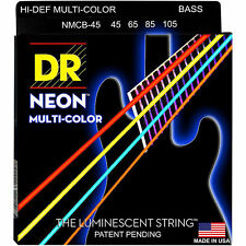 DR NMCB-45 NEON HiDef  MULTi-COLOR COATED BASS STRINGS, MEDIUM 4's - 45-105
