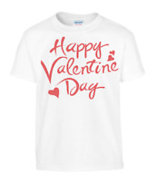 Happy Valentines Day with red hearts kids tee gift ages 3 - 15 years FOL