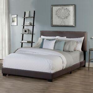 Full Size Upholstered Bed Frame With Wood Slats Platform Headboard Nailhead Trim