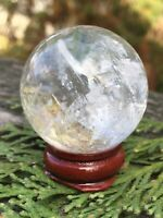 70.3g  NATURAL RAINBOW CLEAR QUARTZ CRYSTAL HEALING SPHERE  Reiki Charged SPAIN
