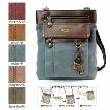 New Chala Handbag GEMINI Crossbody TOFFY DOG Bag Messenger Indigo blue Pleather