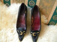 LOVELY! PRADA Black Leather Pointed Toe Buckle Front Flats  - Size 36