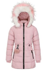 Charcoal Fashion Girl's Back to School Fur Lined Midi Coat with Pink Fur (2115-P