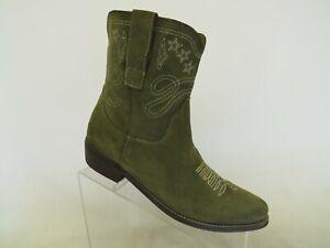 Boutique 9 Green Suede Zip Ankle Cowboy Fashion Boots Bootie Size 8 M