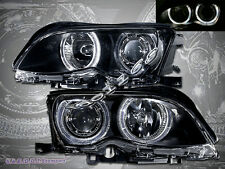 02-05 BMW E46 3-SERIES SEDAN 4DR DUAL HALO RIM ANGEL EYES PROJECTOR HEADLIGHTS