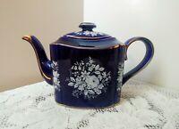 Vintage Tea Pot ARTHUR WOOD Deep Cobalt Blue Gold Gilding w/Floral Design